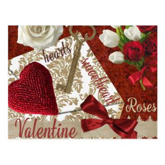 Tiefroter Valentine-Rosen-Goldschlüssel und -herz Postkarte
