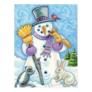 Tier-Gebäude ein Snowman für Weihnachten Postkarte