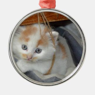 Tier-Pets niedlicher KätzchenKitty Katzen Rundes Silberfarbenes Ornament