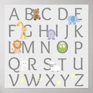 Tieralphabet-Kinderzimmer Poster