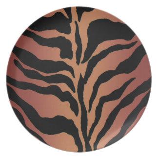 Tierdruck-Tiger-gestreifte Wohngestaltung Melaminteller