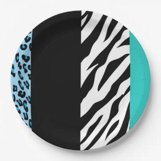 Tierdruck, Zebra, gepunkteter Leopard - Blau Pappteller