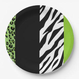Tierdruck, Zebra, gepunkteter Leopard - Grün Pappteller