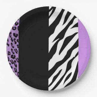Tierdruck, Zebra, gepunkteter Leopard - lila Pappteller