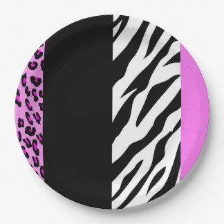 Tierdruck, Zebra, gepunkteter Leopard - Rosa Pappteller