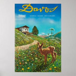 Tierisches Vintages Reise-Plakat Davos die Schweiz Poster