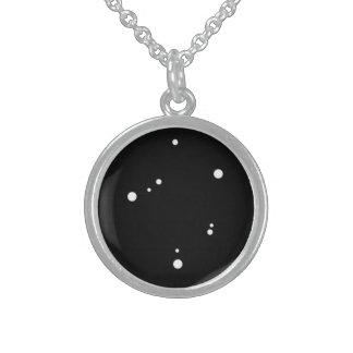 Tierkreis-Halskette: Waage-runde hängende Sterling Silberkette