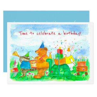 Tierparade-Kindergeburtstag-Party Einladung