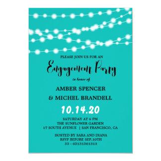 Tiffany blaues glühendes Schnur-helles 12,7 X 17,8 Cm Einladungskarte
