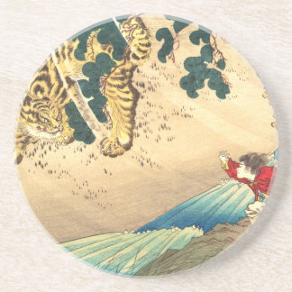 Tiger, Fluss u. Kinder (Utagawa Kuniyoshi) Untersetzer