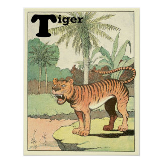 Tiger-Geschichten-Buch-Alphabet-Tier Poster