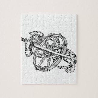 Tiger mit Katana und Dharma Rad-Tätowierung Puzzle