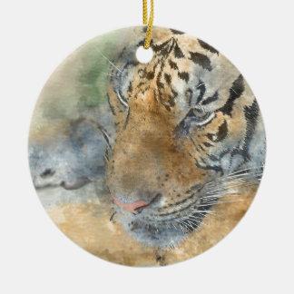 Tiger nah oben im Watercolor Rundes Keramik Ornament