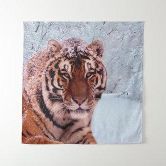 Tiger und Schnee Wandteppich
