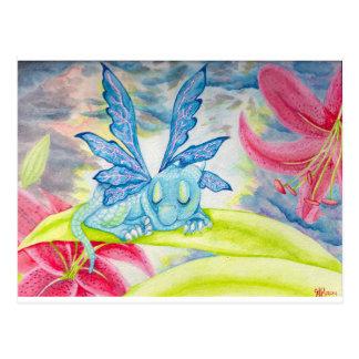 Tigerlilien-Blumensturmfrühling des Babydrachen Postkarte