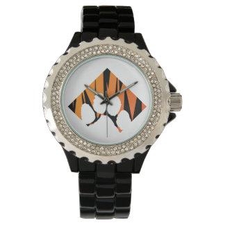 Tigerpaw Rhinestone-Schwarz-Email Uhr