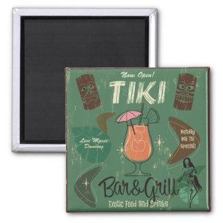 Tiki Bar&Grill Cocktail-Magnet Quadratischer Magnet