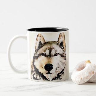 Timberwolf-Porträt Zweifarbige Tasse