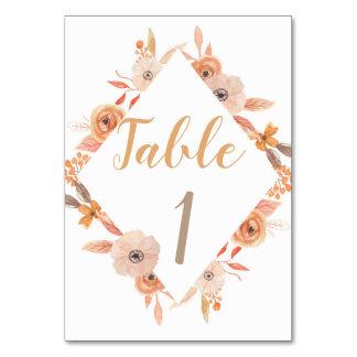 Tischnummer-Karten-Hochzeits-Herbst-Fall-Blumen Karte