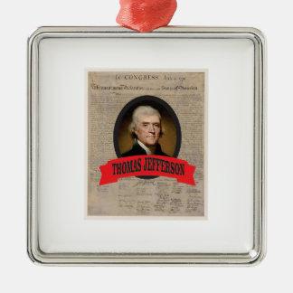 TJ USA Präsident Quadratisches Silberfarbenes Ornament