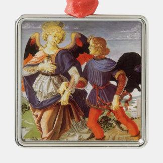 Tobias und der Engel durch Andrea del Verrocchio Silbernes Ornament