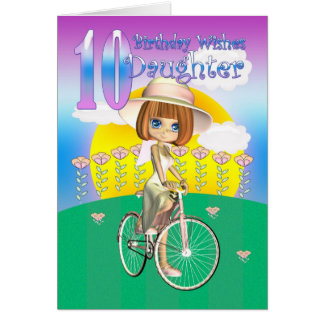 Tochter-10. Geburtstags-Karte mit kleinem Mädchen