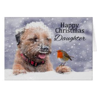 Tochter, Weihnachten, GrenzTerrier-Hundekarte Karte