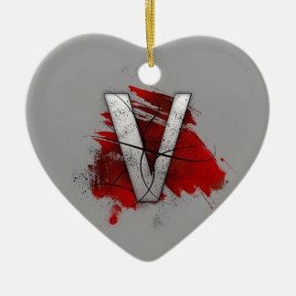 Tödlicher Entwurfs-Monogramm-Buchstabe V Keramik Herz-Ornament