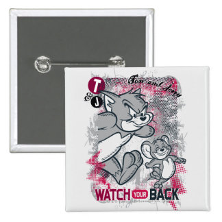 Tom und Jerry passen Ihre Rückseite auf Quadratischer Button 5,1 Cm