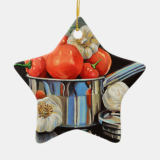 Tomate-Pfeffer-Knoblauch-Gemisch Keramik Ornament