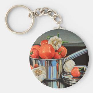 Tomate-Pfeffer-Knoblauch-Gemisch Schlüsselanhänger
