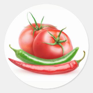 Tomaten und Paprikas Runder Aufkleber
