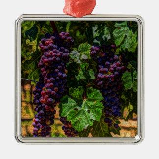 Toskana-Weinbergtrauben des Quadratisches Silberfarbenes Ornament