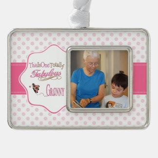 Total fabelhafte Oma mit rosa Tupfen Rahmen-Ornament Silber