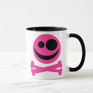 Totenkopf mit gekreuzter Knochen. Pink und Tasse
