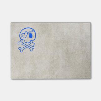 Totenkopf mit gekreuzter Knochen Post-it Klebezettel
