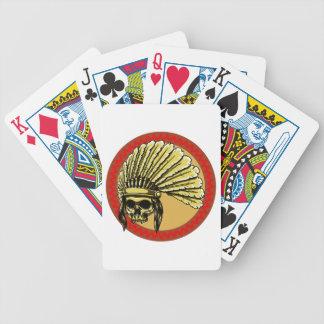 Totenkopf Schädel Indianer skull Native American Poker Karten