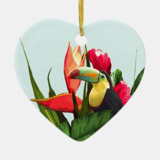 Toucan tropische Banane verlässt Blumenstrauß Keramik Ornament