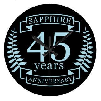 Traditioneller 45. Hochzeitstag des Saphirs Große Wanduhr