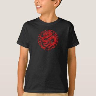 Traditioneller roter chinesischer Drache-Kreis T-Shirt