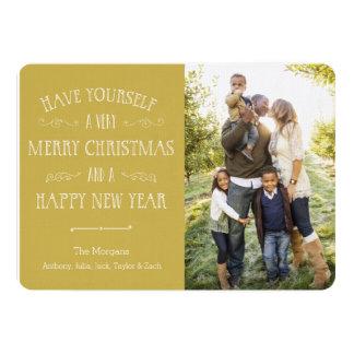 Traditionelles Weihnachten-Gold 12,7 X 17,8 Cm Einladungskarte