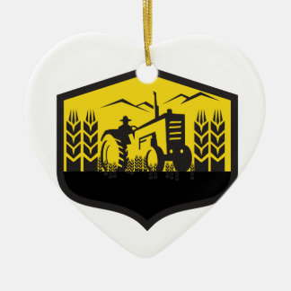 Traktor, der das Weizen-Bauernhof-Wappen Retro Keramik Ornament