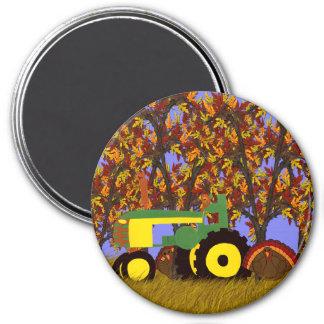 Traktor durch Herbst-Bäume und Truthähne 1 Magnete