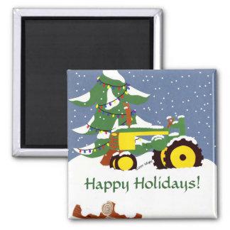 Traktor für Weihnachten Quadratischer Magnet