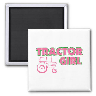 Traktor-Mädchen Quadratischer Magnet