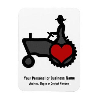 Traktor mit Herz-Liebe das Land Rechteckige Magnete