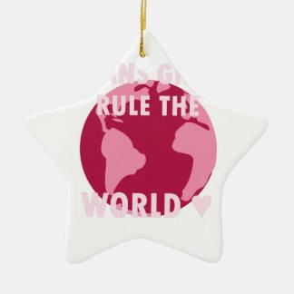 Transport-Mädchen ordnen die Welt an (v2) Keramik Stern-Ornament
