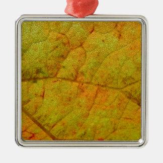 Trauben-Blatt-Unterseite Quadratisches Silberfarbenes Ornament