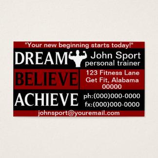 Traum glauben erzielen persönlichen Trainer Visitenkarten