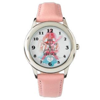 Träume in der französischen Edelstahl-Rosa-Uhr Armbanduhr